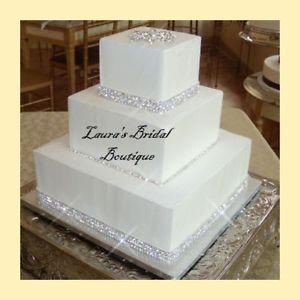 Rhinestone Wedding Cake with Ribbon