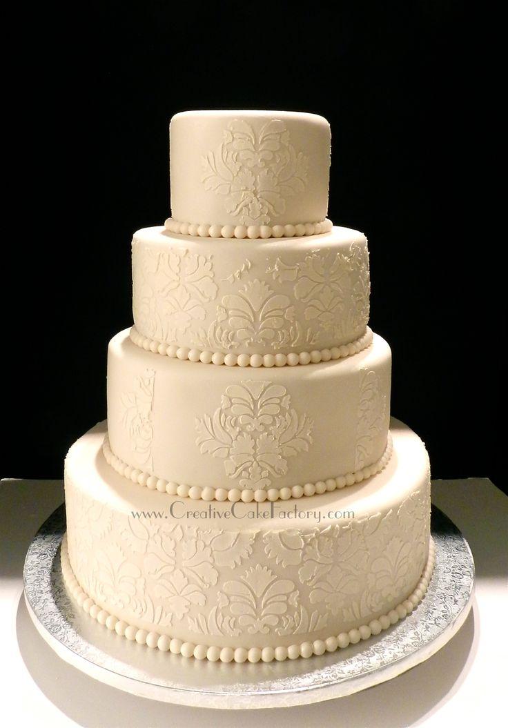 Round Damask Wedding Cake