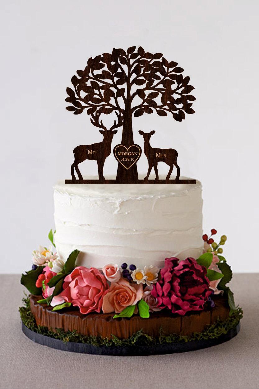Rustic Deer Wedding Cake Toppers