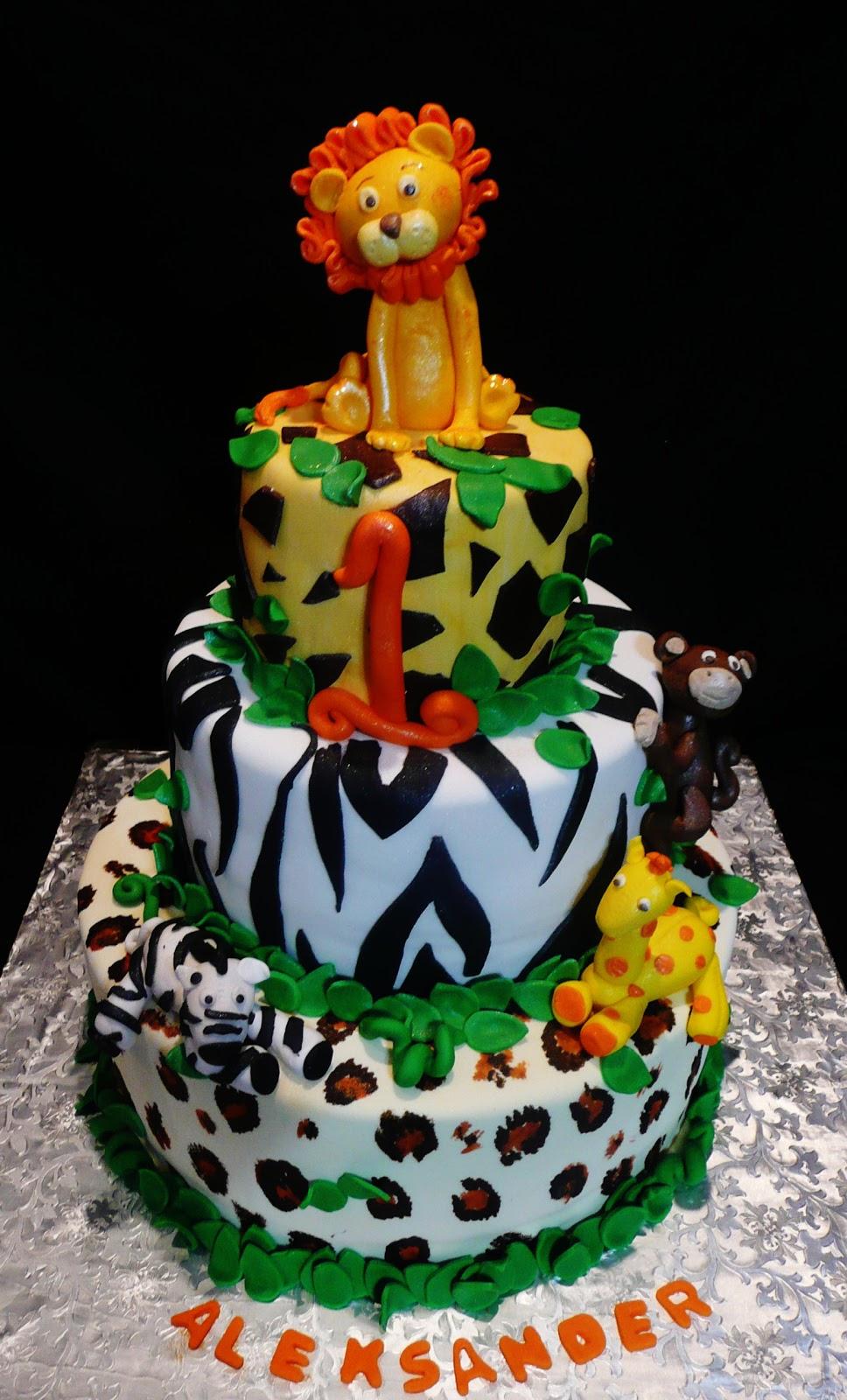 Safari Theme First Birthday Cake