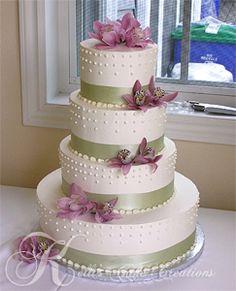 Sage Green and Lavender Wedding Cake