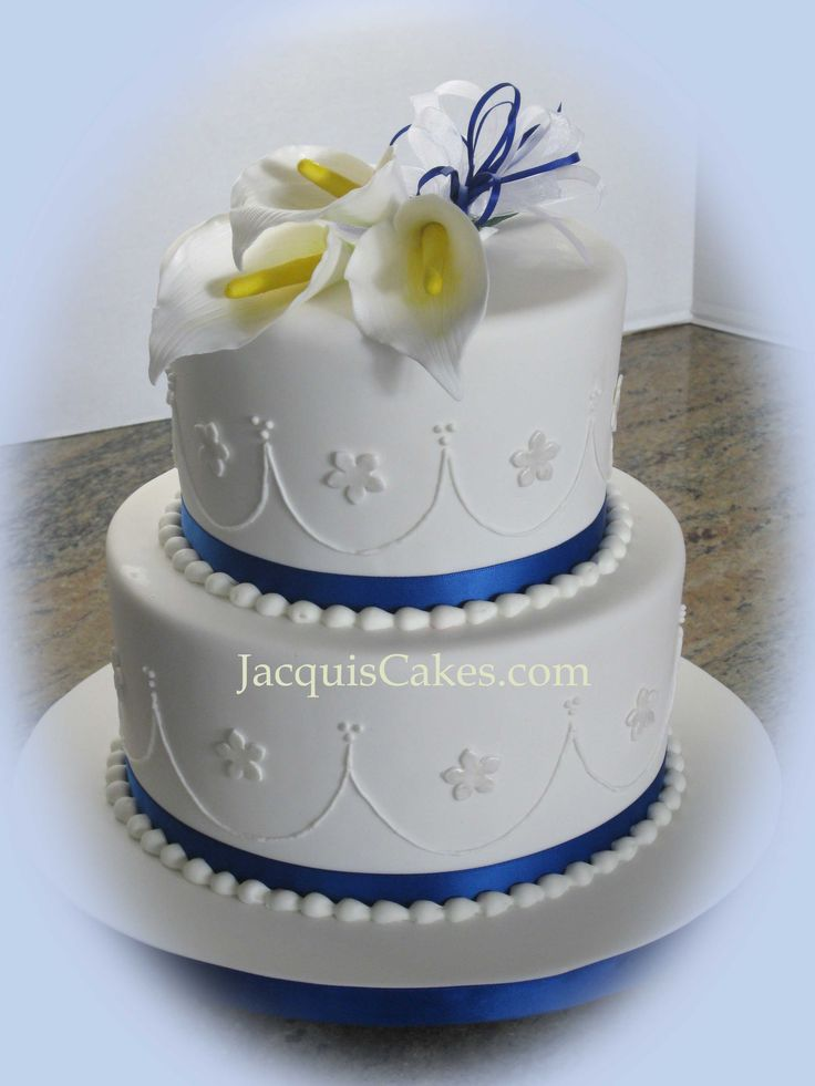 Small 2 Tier Wedding Cakes Blue