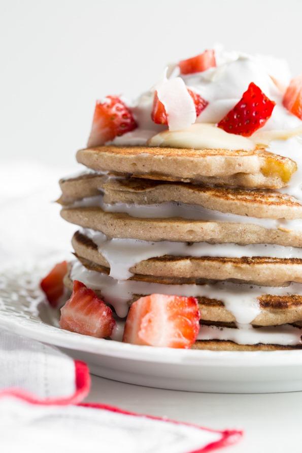 Strawberry Whipped Cream Pancakes