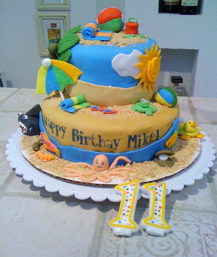 Summer Beach Birthday Cake
