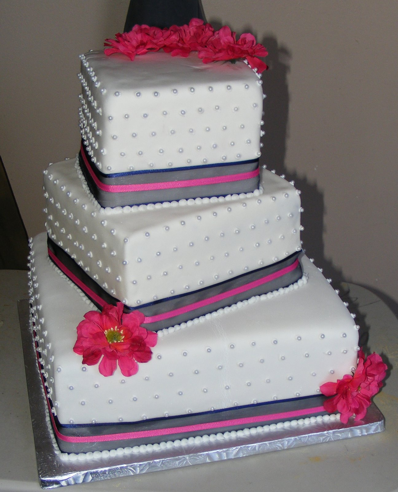 Three Tier Square Wedding Cakes