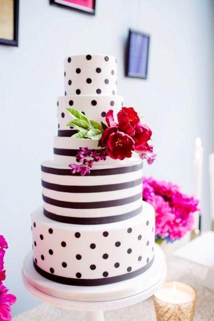 Wedding Cake Polka Dots and Stripes