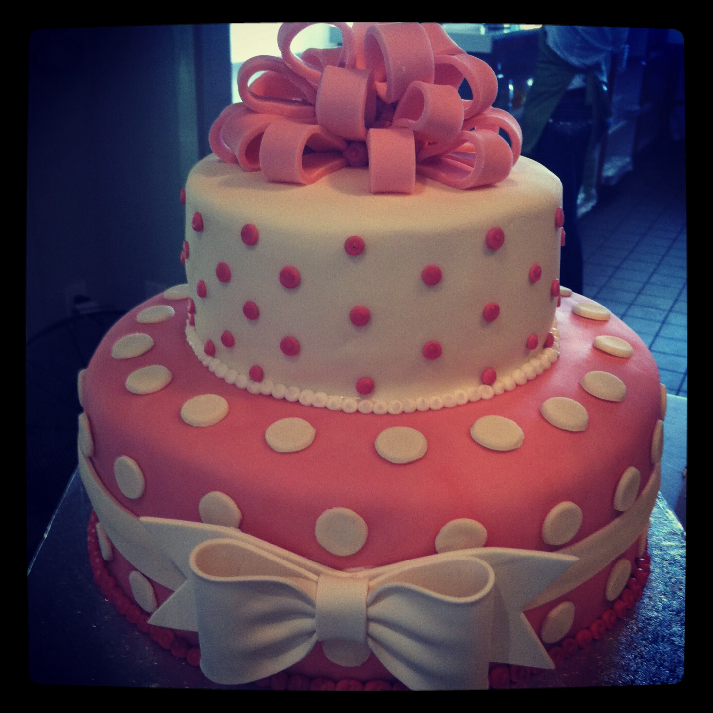 White and Pink Baby Shower Cakes Buttercream