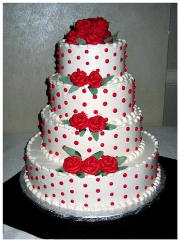 White Polka Dot Wedding Cakes