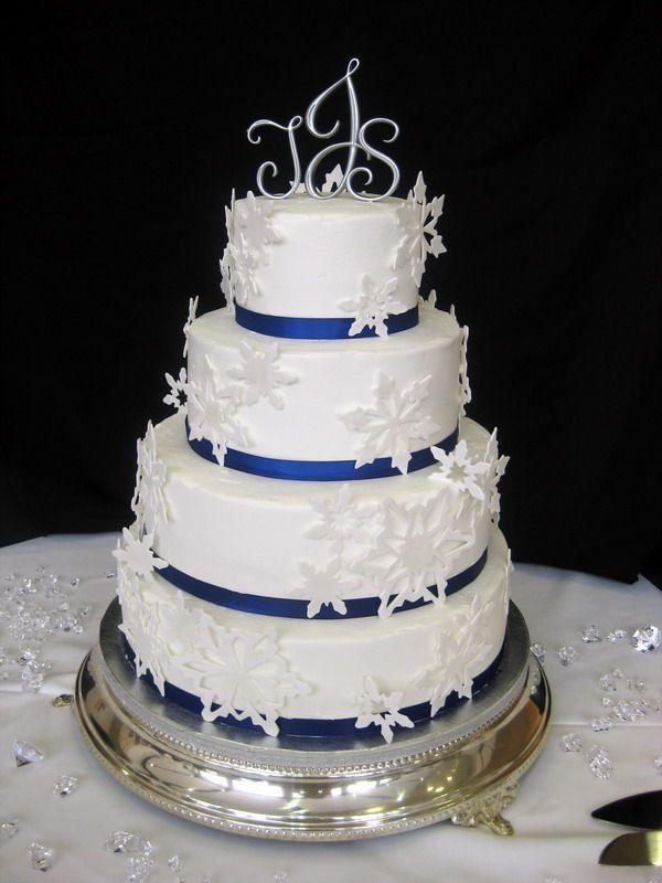 Winter Wedding Cake with Snow Flakes