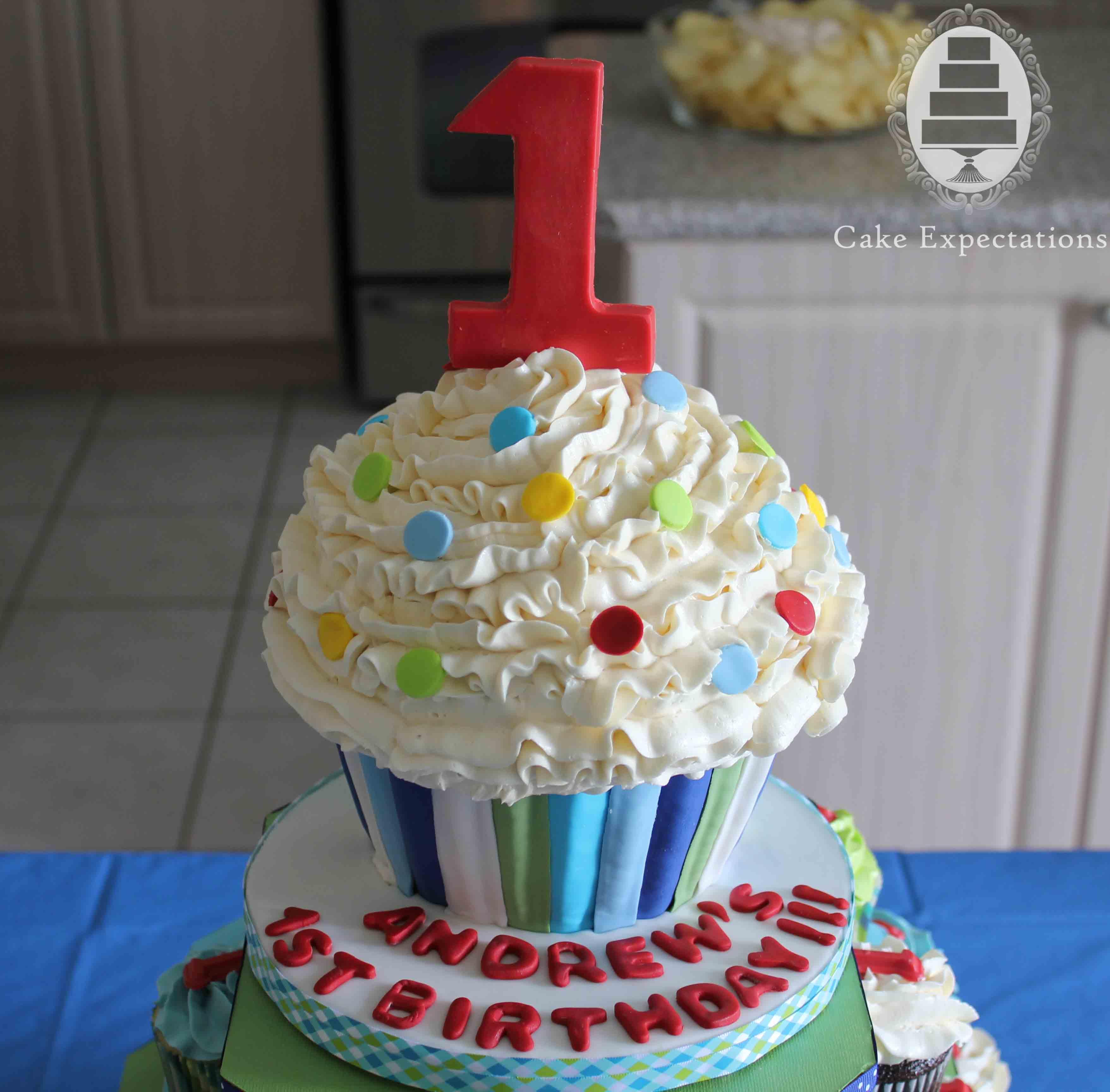 1st Birthday Giant Cupcake Cake