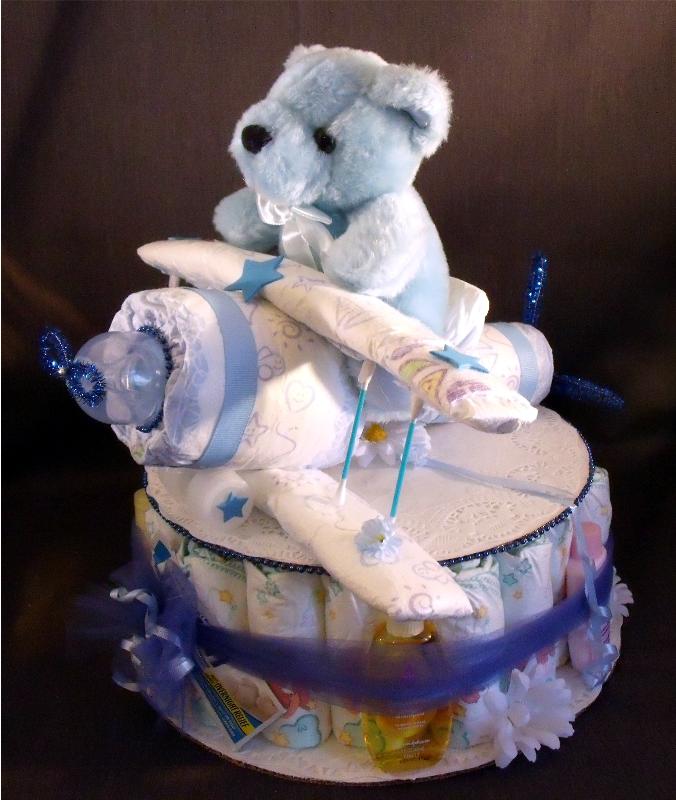 Airplane Baby Shower Diaper Cake Centerpiece