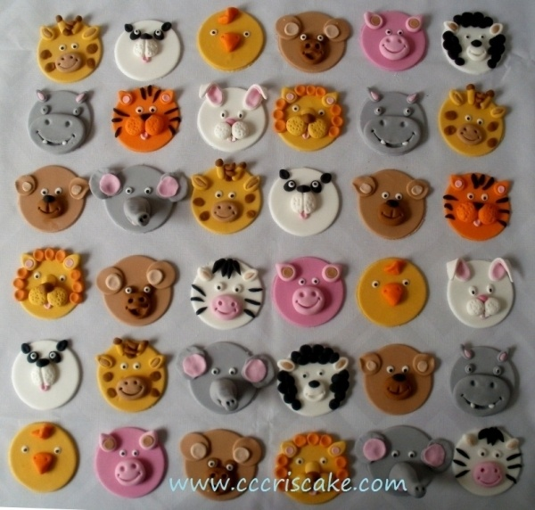 Animal Face Cupcake Toppers