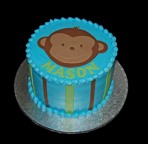 Baby Boy Monkey 1st Birthday Cake