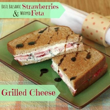 Basil Balsamic Strawberries & Whipped Feta Grilled Cheese Sandwich