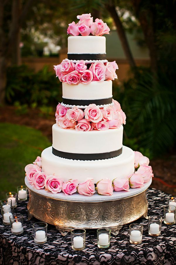Beautiful Wedding Cake Pink Black and White
