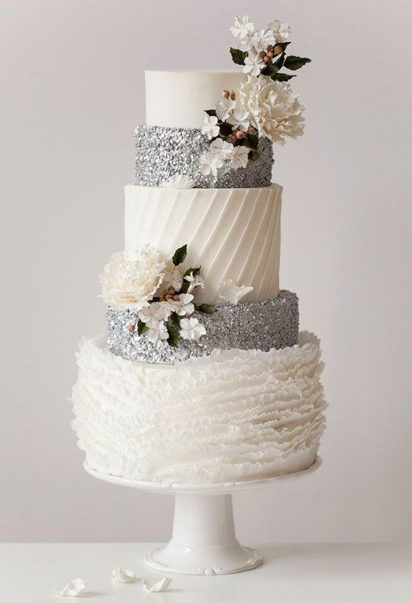 Beautiful White and Silver Wedding Cake