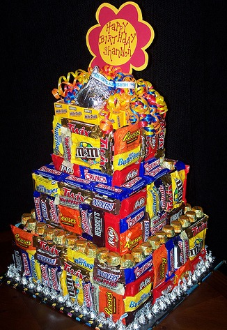 Birthday Cake Made with Candy Bars