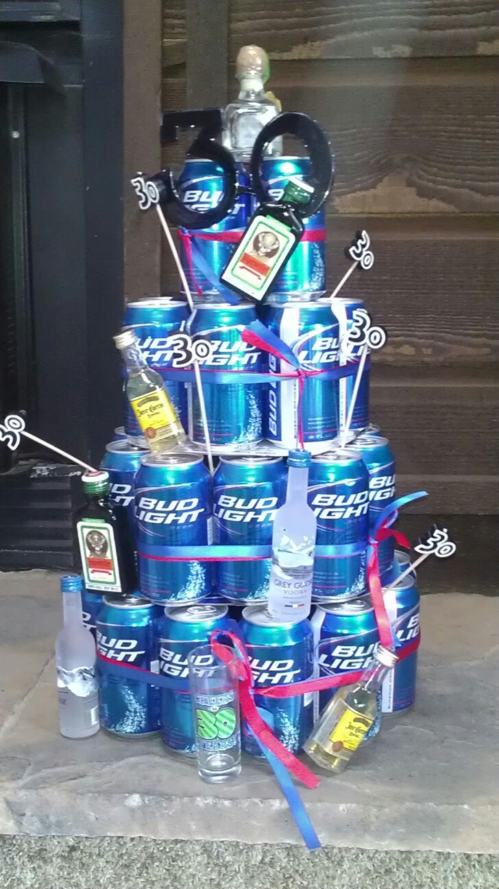 Birthday Cake Out of Beer Cans