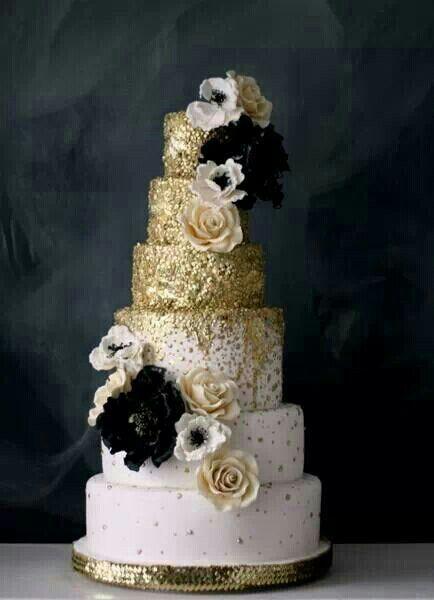 Black and White Gold Wedding Cake