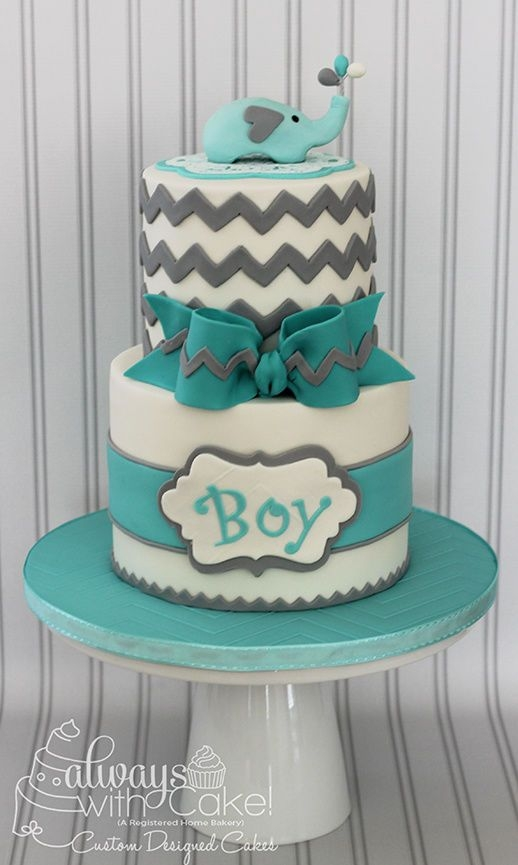 Blue and Green Elephant Baby Shower Cake