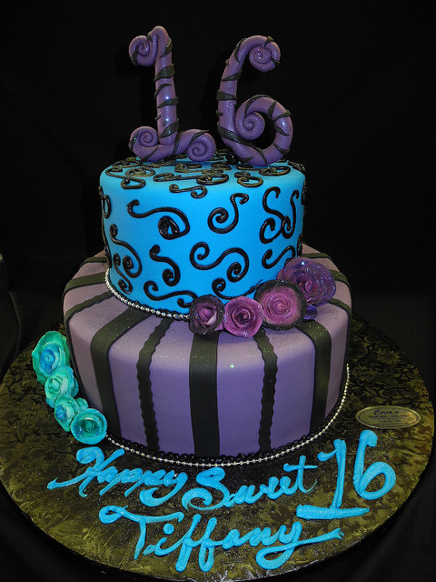 Blue and Purple Sweet 16 Cakes
