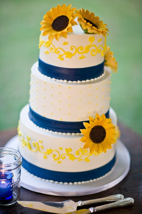 Blue and Sunflower Wedding Cake