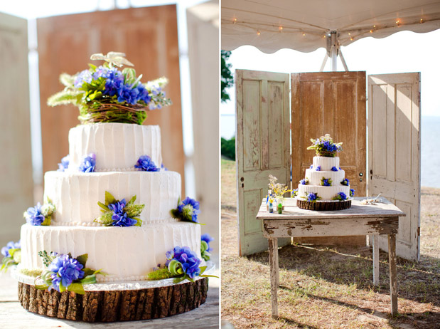 Blue and Yellow Country Wedding Cake