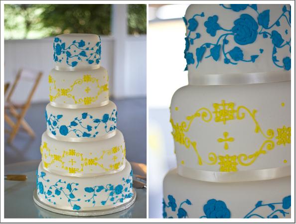 Blue and Yellow Wedding Cake