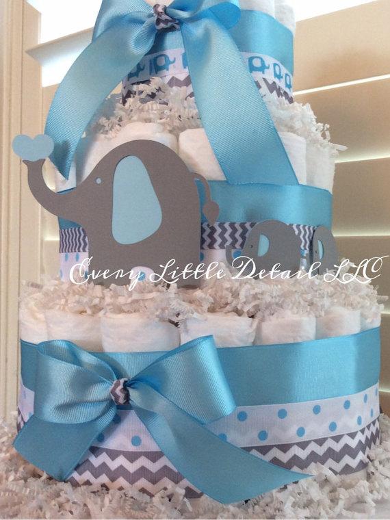 Blue Elephant Diaper Cake Baby Shower Themes