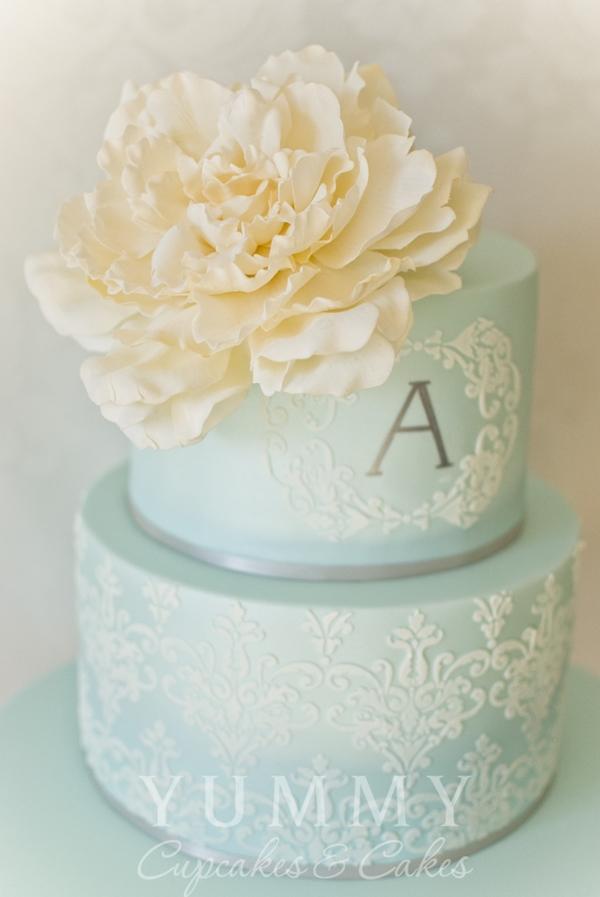 Blue Lace Wedding Cake