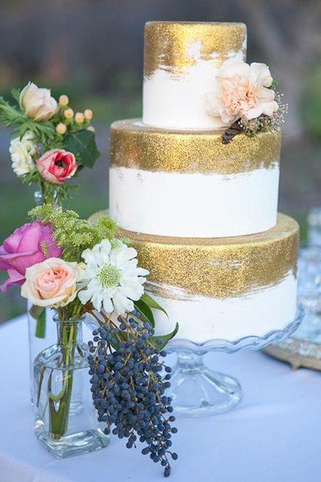 Brushed Gold Wedding Cake