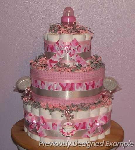 Camo Baby Girl Diaper Cake