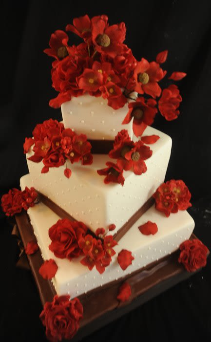 Chocolate Brown and Red Wedding Cake