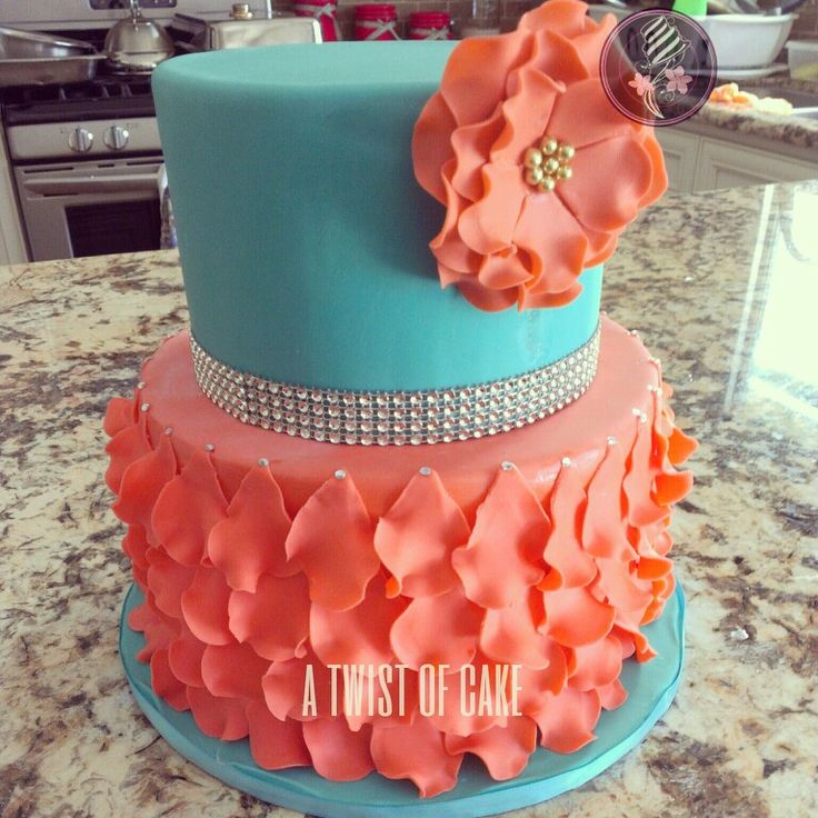 11 Photos of Coral And Teal Baby Girl Cakes