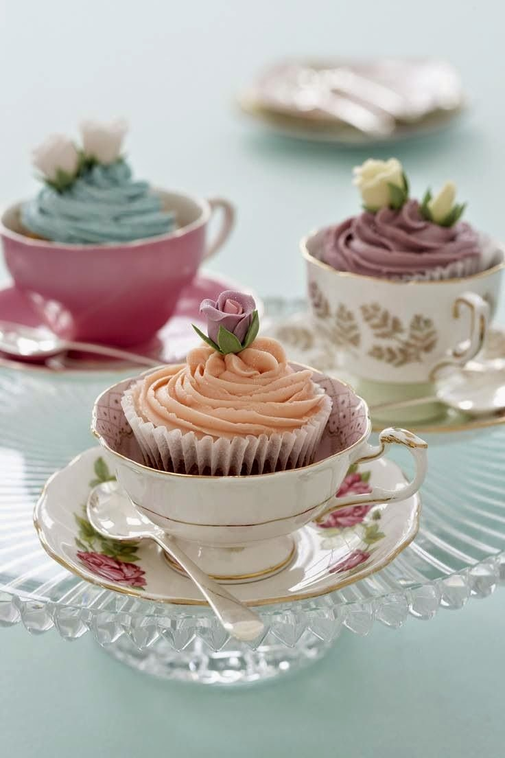 Cupcakes Served in Tea Cups