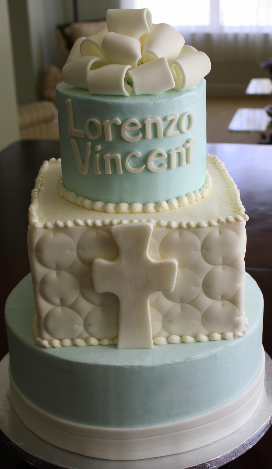Elegant Boy Baptism Cake