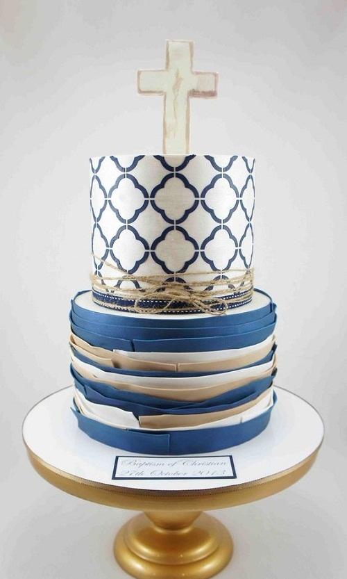 Elegant Boys Christening Cake