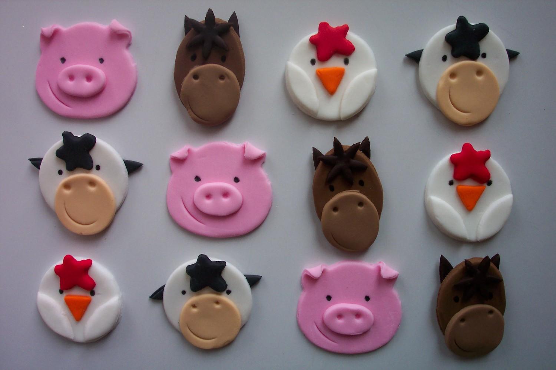 Farm Animal Fondant Cupcake Toppers