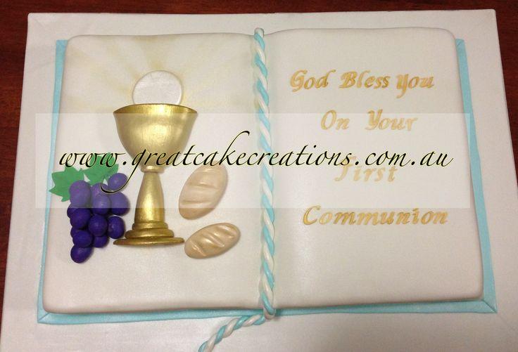 First Communion Bible Cake Open