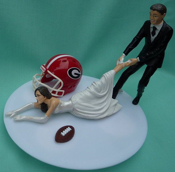 Football Themed Wedding Cake Toppers
