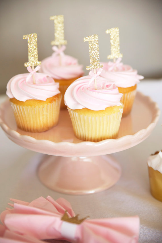 Gold and Pink First Birthday Cupcakes