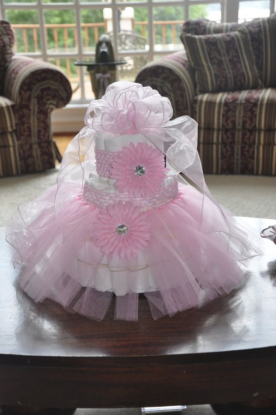 Gold and Pink Tutu Diaper Cake