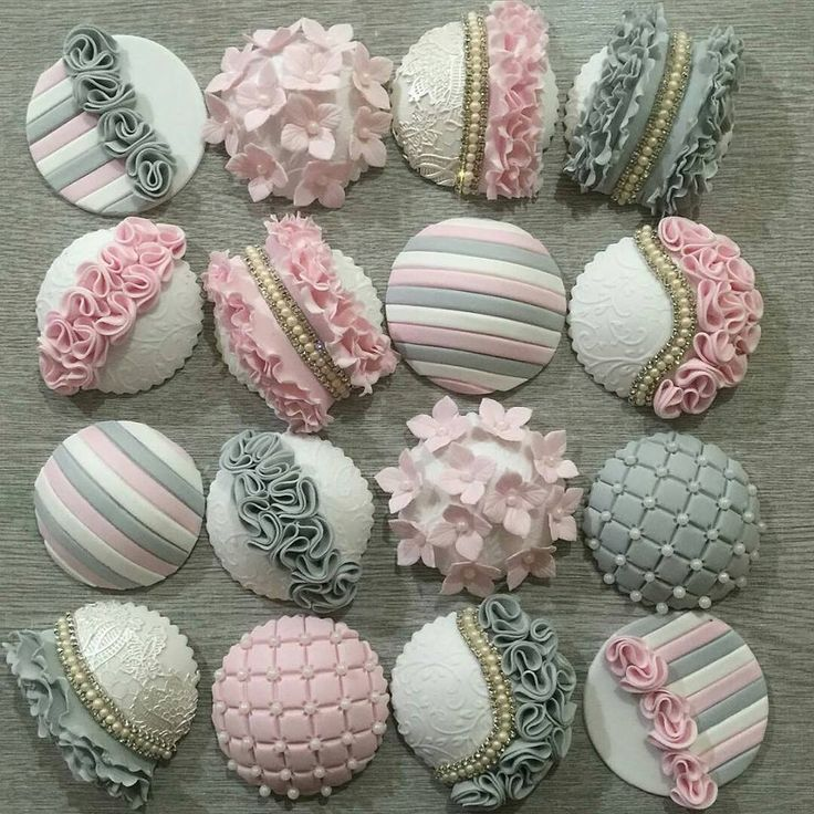 Gray and Pink Cupcakes
