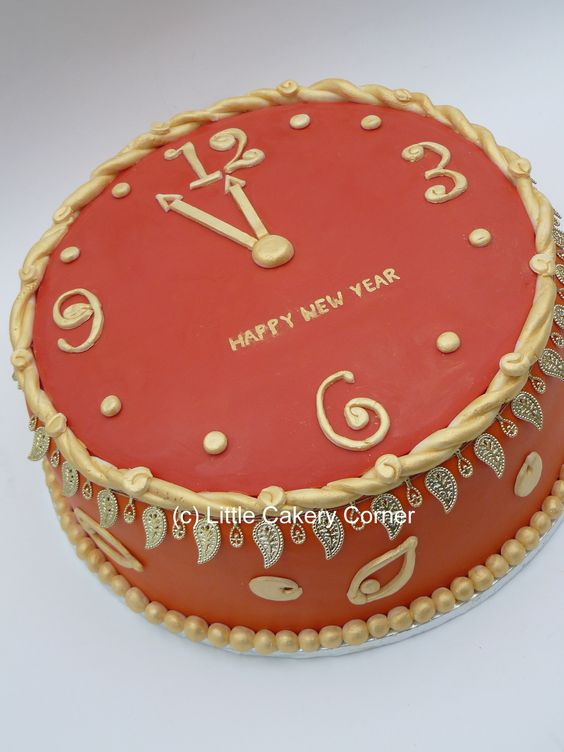Happy New Year Clock Cake