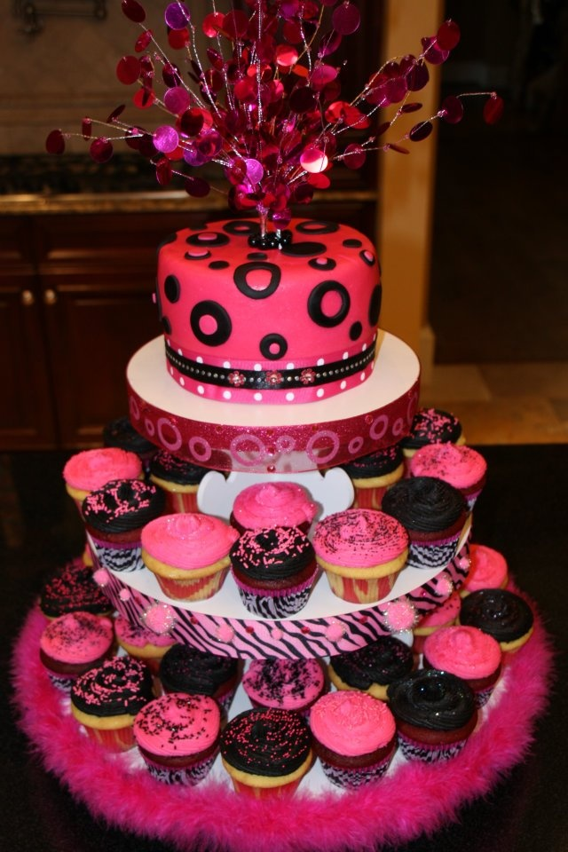 Hot Pink and Black Cupcakes