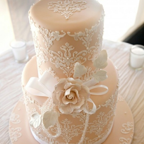 Lace Wedding Cake with Fondant