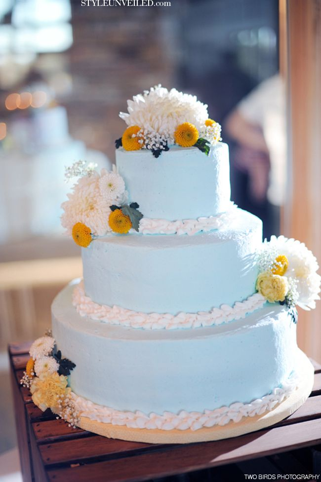 Light Blue and Yellow Wedding Cake