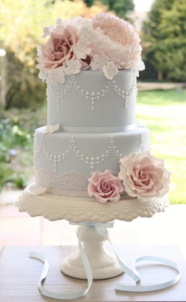 Light Pink and Blue Wedding Cake
