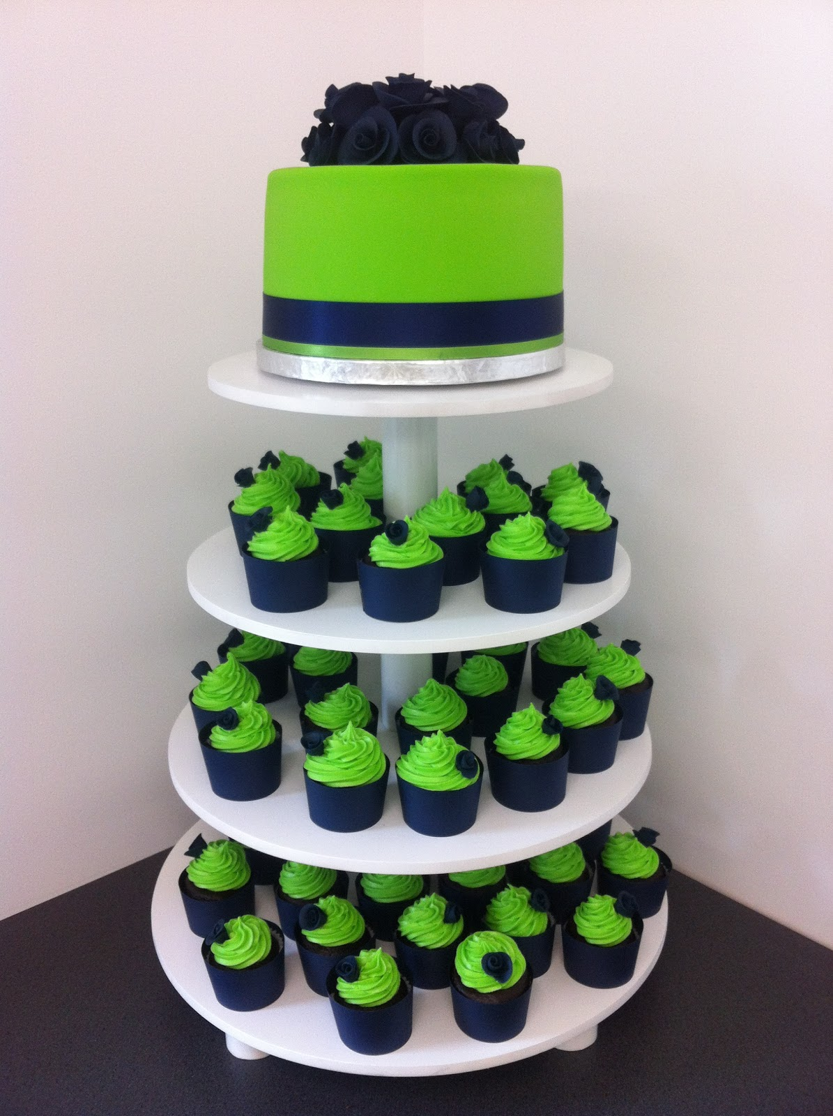 Lime Green and Blue Wedding Cake