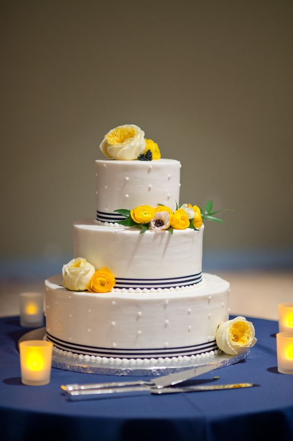 Navy and Yellow Buttercream Wedding Cakes